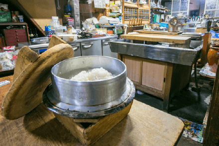 Rice cooked in a kettle:Photo